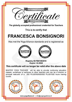 Certificato YogaAlliance Franceca 3 cm